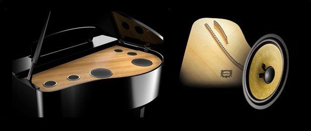Yamaha CLP-795 speaker array and wood-cone speaker