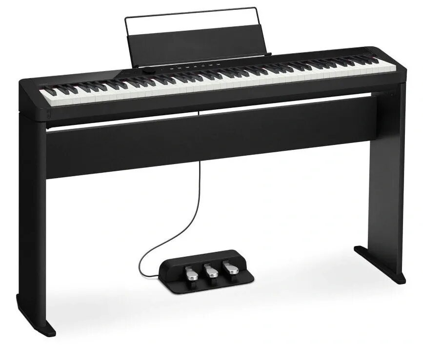 black Casio PX-S1000 on stand and with triple pedal unit